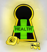 Keyhole golden entrance to health behind — Stock Vector