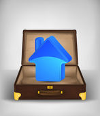 Accomodation icon in open travel suitcase — Stock Vector