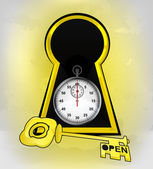 Keyhole golden entrance with stopwatch inside — Stock vektor