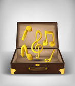 Holiday music in open travel suitcase — Vetorial Stock