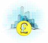 Pound coin wealth of modern office city — Stock Vector