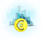 Euro coin wealth of modern office city — Stock Vector