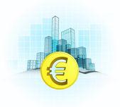 Euro coin wealth of modern office city — 图库矢量图片