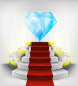 Grande diamante sul podio rotondo — Vettoriale Stock