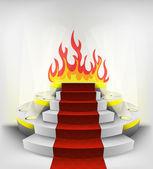 Em chamas no pódio redondo — Vetor de Stock