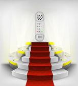 Dial telephone on round podium — Stock Vector