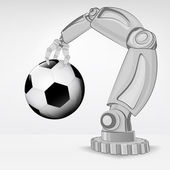 Soccer ball hold by automated robotic hand — Vettoriale Stock