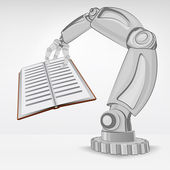Education book hold by automated robotic hand — Stock Vector