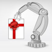 Gift surprise hold by automated robotic hand — Stock Vector