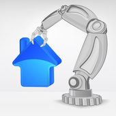 Real estate icon hold by automated robotic hand — Stock Vector
