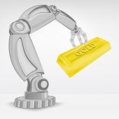Crafted golden ingot hold by automated robotic hand — Stock Vector