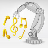 Modern music creating by automated robotic hand — Stock Vector