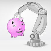 Happy pig hold by automated robotic hand — Stock Vector