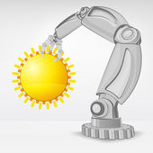 Summer sun hold by automated robotic hand — Stock Vector