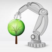 Leafy tree nature hold by automated robotic hand vector — 图库矢量图片