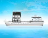 Cargo calculation on freighter deck — Stock Vector