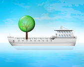 Leafy tree on freighter deck as wood transportation — Stock Vector