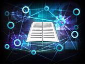Otwórz książkę w sieci transferu świata biznesu — Wektor stockowy