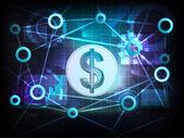 Golden Dollar coin in business world transfer network — Stock Vector