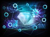 Diamond in business world transfer network — Stock Vector