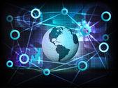 American earth globe in business world transfer network — Stock Vector