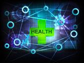 Gesundheit in business-welt-transfer-netzwerk — Stockvektor