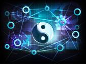 Harmony symbol in business world transfer network — Vetorial Stock