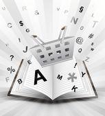 Trade basket in opened book — Stock vektor