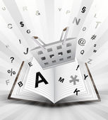 Trade basket in opened book — Stock Vector