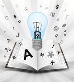 Light bulb in opened book — Stock Vector