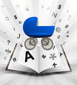 Blue pushchair in opened book — Stock vektor