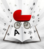 Red pushchair in opened book — Stock vektor