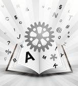 Industrial cogwheel in opened book — Stock Vector