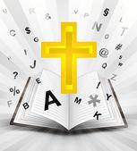 Sainte croix à livre ouvert — Vecteur