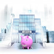 Happy pig in front of office building — Stock Photo