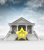 Top rating star in front of bank in classic style with sky — Stock Photo