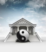 Financial balance in front of bank in classic style with sky — Stock Photo