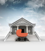 Baby stroller in front of bank in classic style with sky — Stock Photo