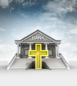 Golden cross in front of bank in classic style with sky — Stock Photo