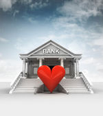 Red heart in front of bank in classic style with sky — Stockfoto