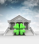 Cloverleaf happiness in front of bank in classic style with sky — Stock Photo