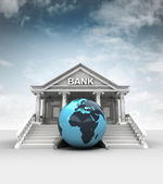 Africa earth globe in front of bank in classic style with sky — Stock Photo