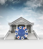 Poker chip in front of bank in classic style with sky — Stockfoto
