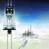 «Песочные часы» в концепции Лифт пространства небо над городом — Стоковое фото