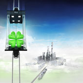 Cloverleaf happiness in sky space elevator concept above city — Stock Photo
