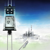 Bank vault in sky space elevator concept above city — ストック写真