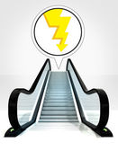 Thunderbolt in bubble above escalator leading to upwards concept — Stock Photo