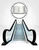 Open book in bubble above escalator leading to upwards concept — Stock Photo