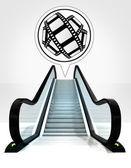 Movie tape in bubble above escalator leading to upwards concept — Stock Photo