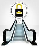 Candado cerrado en burbuja por encima de las escaleras mecánicas hacia arriba concepto — Foto de Stock